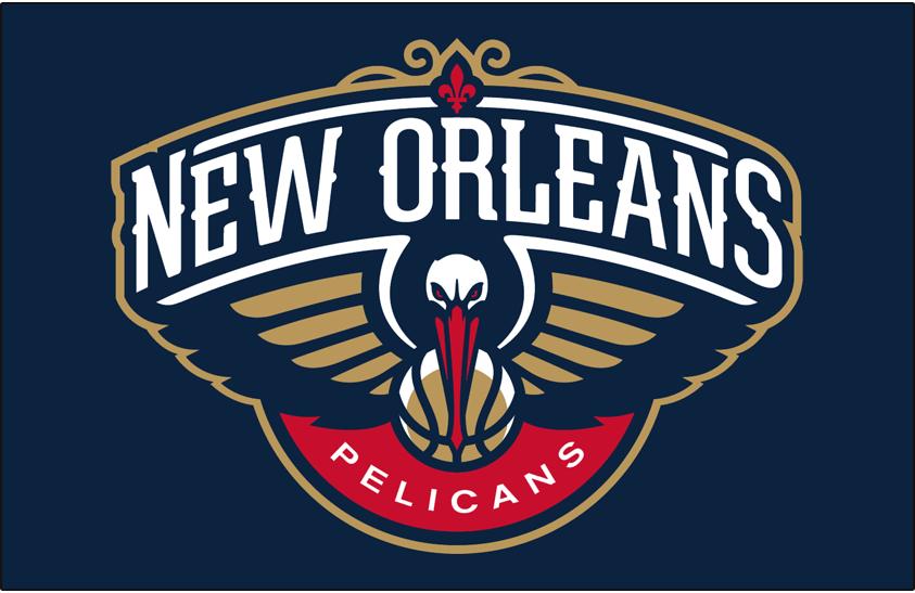 New Orleans Pelicans Logo Primary Dark Logo (2013/14-Pres) - Pelicans logo on blue SportsLogos.Net