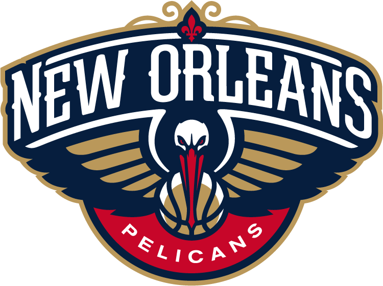 New Orleans Pelicans Logo Primary Logo (2013/14-Pres) - A head-on view of a pelican with wings spread and basketball, with crescent, below its beak.  New Orleans arched above the bird with a red fleur-de-lis.  Pelicans below on red. SportsLogos.Net
