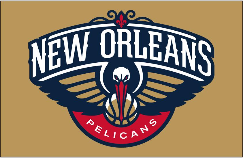New Orleans Pelicans Logo Primary Dark Logo (2013/14-Pres) - Pelicans logo on gold SportsLogos.Net