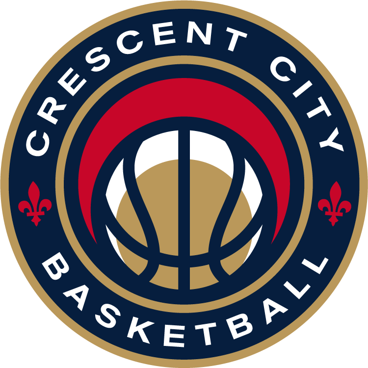 New Orleans Pelicans Logo Secondary Logo (2013/14-Pres) - A red, blue, and gold basketball with Crescent City Basketball around it in white SportsLogos.Net