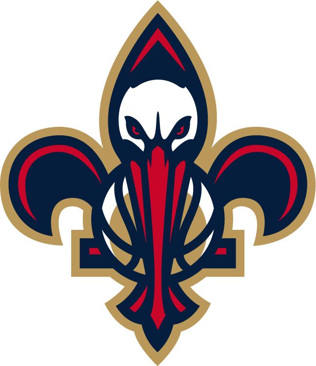 New Orleans Pelicans Logo Secondary Logo (2013/14-Pres) - The bird-de-lis logo, a pelican and a basketball inside a fleur-de-lis SportsLogos.Net