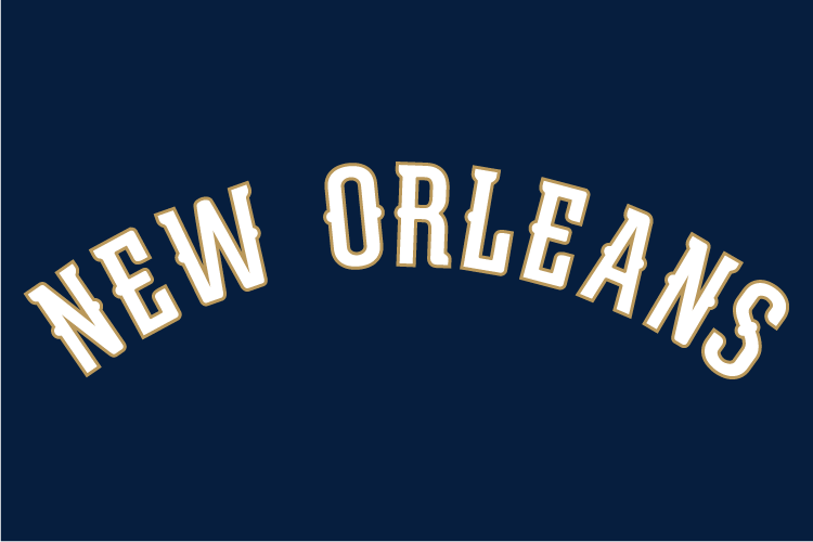 New Orleans Pelicans Logo Wordmark Logo (2013/14-Pres) - NEW ORLEANS in white outlined in gold, worn on New Orleans Pelicans blue road uniforms SportsLogos.Net
