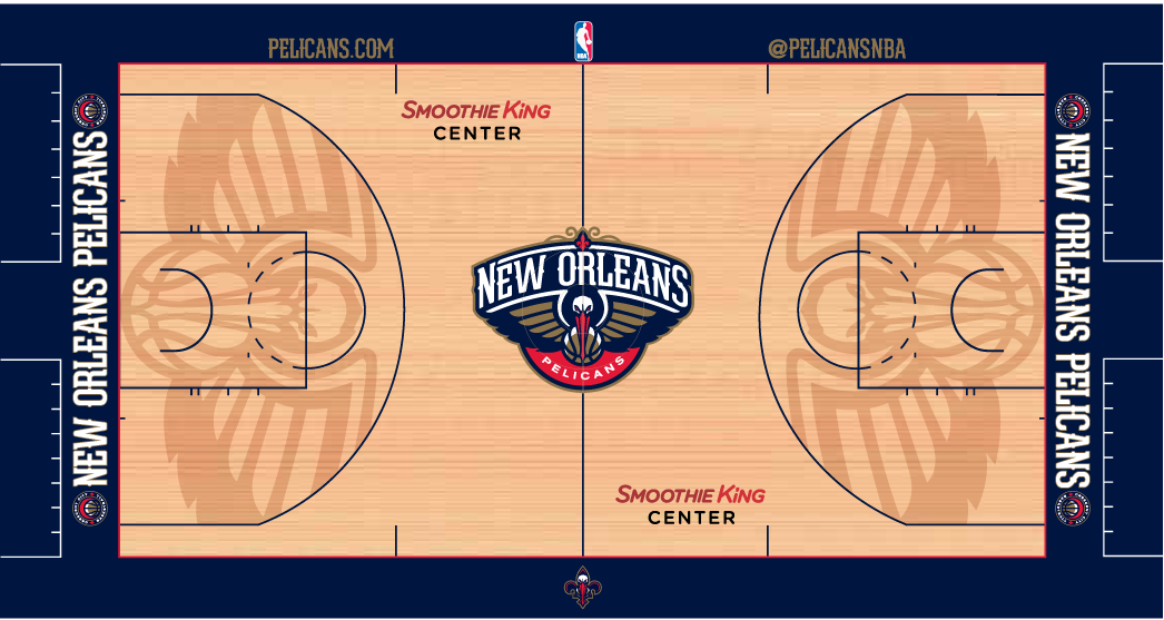 New Orleans Pelicans Playing Surface Playing Surface (2014/15-Pres) -  SportsLogos.Net