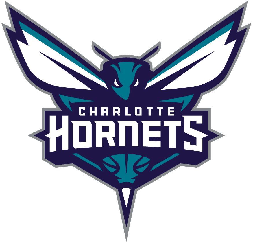 Charlotte Hornets Logo Primary Logo (2014/15-Pres) - A teal and dark purple hornet with stinger around team name. A basketball pattern seen above the stinger SportsLogos.Net