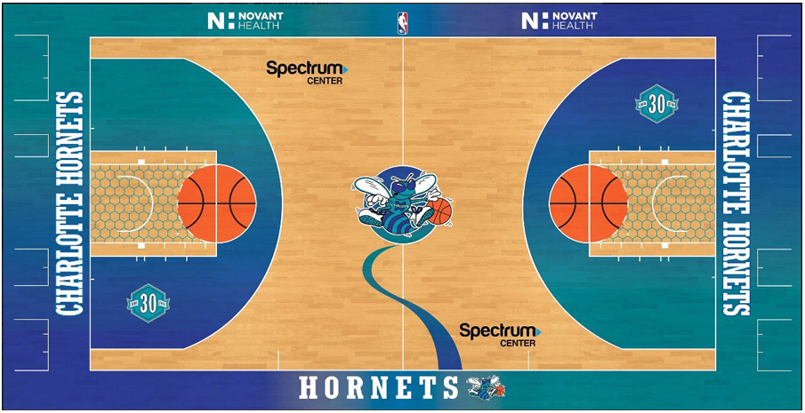 Charlotte Hornets Playing Surface Playing Surface (2018/19-Pres) - Charlotte Hornets alternate/throwback court design SportsLogos.Net