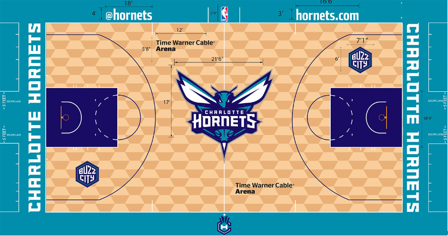 Charlotte Hornets Playing Surface Playing Surface (2014/15-Pres) -  SportsLogos.Net