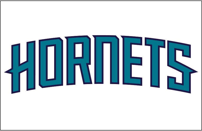 Charlotte Hornets Logo Jersey Logo (2014/15-Pres) - HORNETS in teal with purple outline arched on white, worn on the front of the Charlotte Hornets home uniform beginning in 2014-2015 season SportsLogos.Net