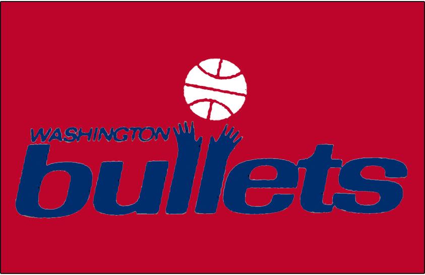 Washington Bullets Logo Primary Dark Logo (1974/75-1986/87) - Primary Bullets Logo on Red SportsLogos.Net