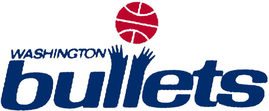 Washington Bullets Logo Primary Logo (1974/75-1986/87) - Bullets in blue with L's forming arms reaching for a red ball SportsLogos.Net