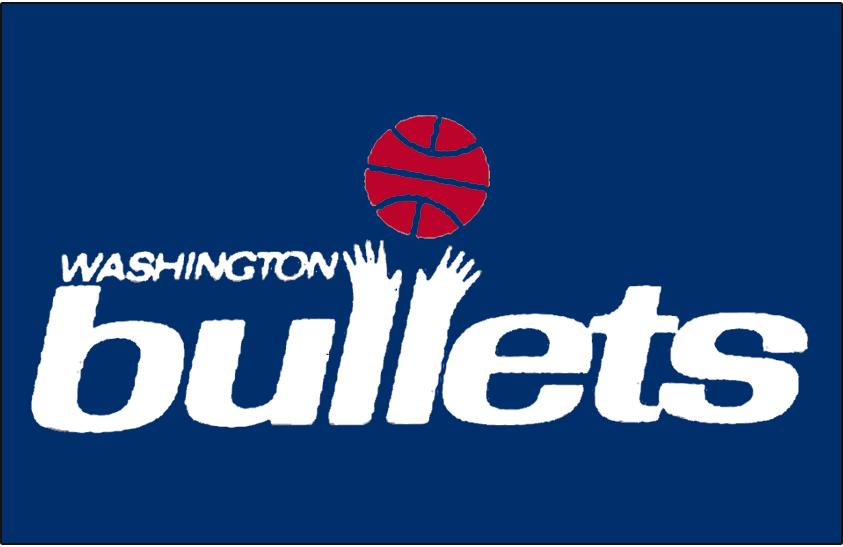 Washington Bullets Logo Primary Dark Logo (1974/75-1986/87) - Primary Bullets Logo on Blue SportsLogos.Net