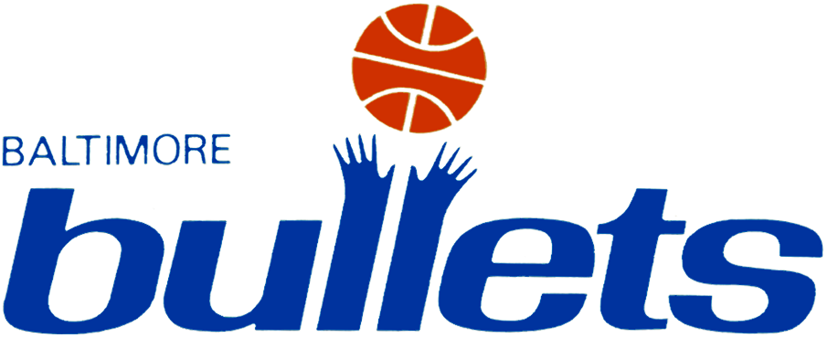 Baltimore Bullets Logo Primary Logo (1971/72) - 'Bullets' in blue with the L's forming too arms readying for a red ball SportsLogos.Net