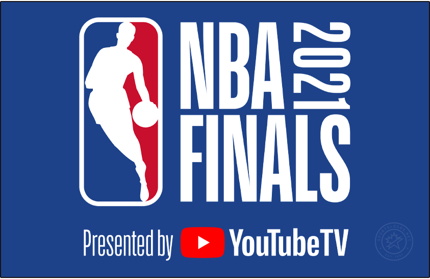 NBA Finals Logo Primary Dark Logo (2020/21) - The 2021 NBA Finals logo, continues the NBA Finals logo template in use since 2018 which places the NBA logo to the left of NBA FINALS stacked in blue with the year 2021 displayed vertically in red. As has been the case since 2019, the logo is presented by YouTubeTV SportsLogos.Net