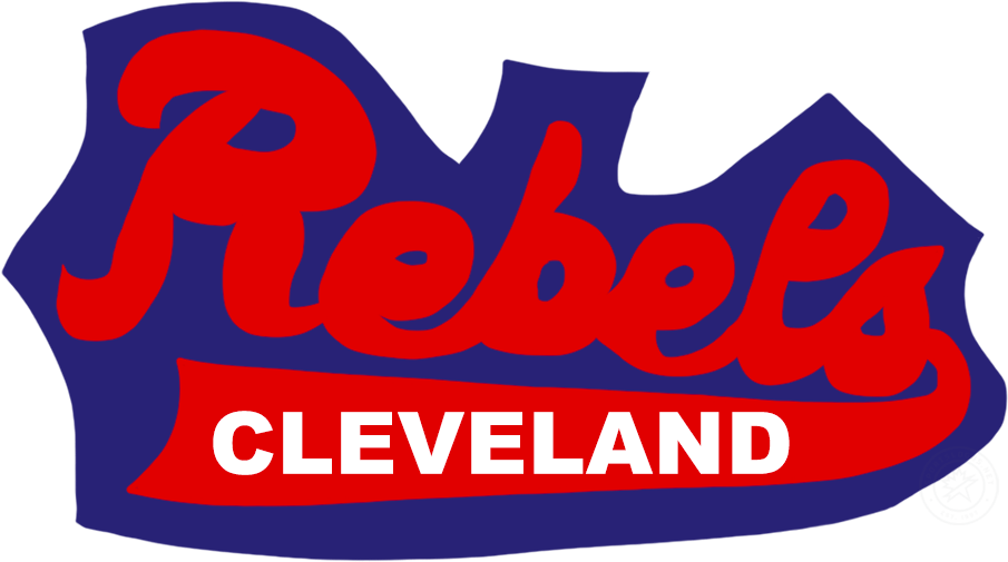 Cleveland Rebels Logo Primary Logo (1946/47) - It is unconfirmed if this truly is the primary logo for the Cleveland Rebels but what is known is that this graphic was worn on the team's jackets during their only season in the Basketball Association of America (later the NBA). The graphic shows Rebels in scripted red lettering with a tail below containing Cleveland in white, the entire logo is placed on a blue background. SportsLogos.Net
