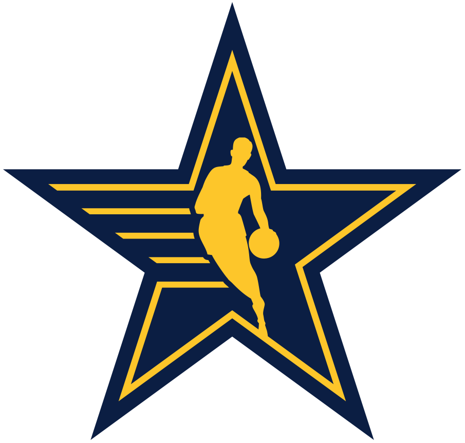 NBA All-Star Game Logo Unused Logo (2020/21) - Originally scheduled to be played in Indianapolis, the COVID-19 pandemic forced the NBA to scrap its plans for a traditional All-Star Game in 2021. Though a game was eventually played in 2021 in Atlanta here is the original secondary NBA Starman logo for the game, shows a blue and yellow version of the league logo on a star with yellow streaks. SportsLogos.Net