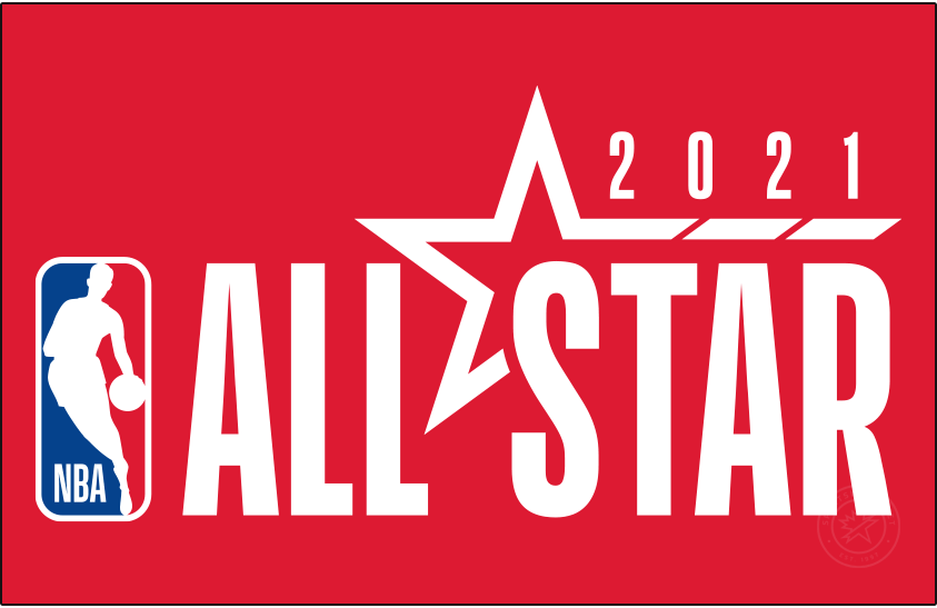 NBA All-Star Game Logo Primary Dark Logo (2020/21) - Originally scheduled to be played in Indianapolis, the COVID-19 pandemic forced the NBA to scrap its plans for a traditional All-Star Game in 2021. A couple of months into the 2020-21 season the league changed its mind and chose to stage an All-Star Game in Atlanta in March 2021. The logo shown here continues the league-wide template with the logo to the left and event name to the right, a red star is included with 2021 above. Logo shown here on a red background SportsLogos.Net