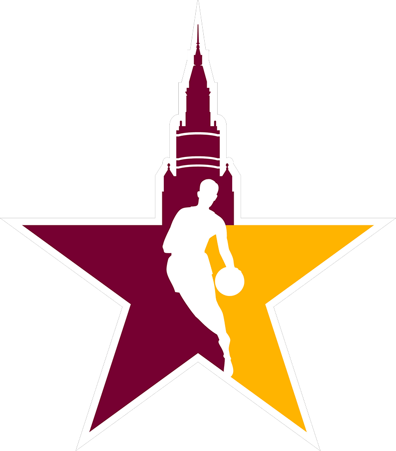 NBA All-Star Game Logo Secondary Logo (2021/22) - The 2022 NBA Starman alternate All-Star Game logo transforms the NBA logo into a wine and gold star with the Terminal Tower in downtown Cleveland rising above it SportsLogos.Net