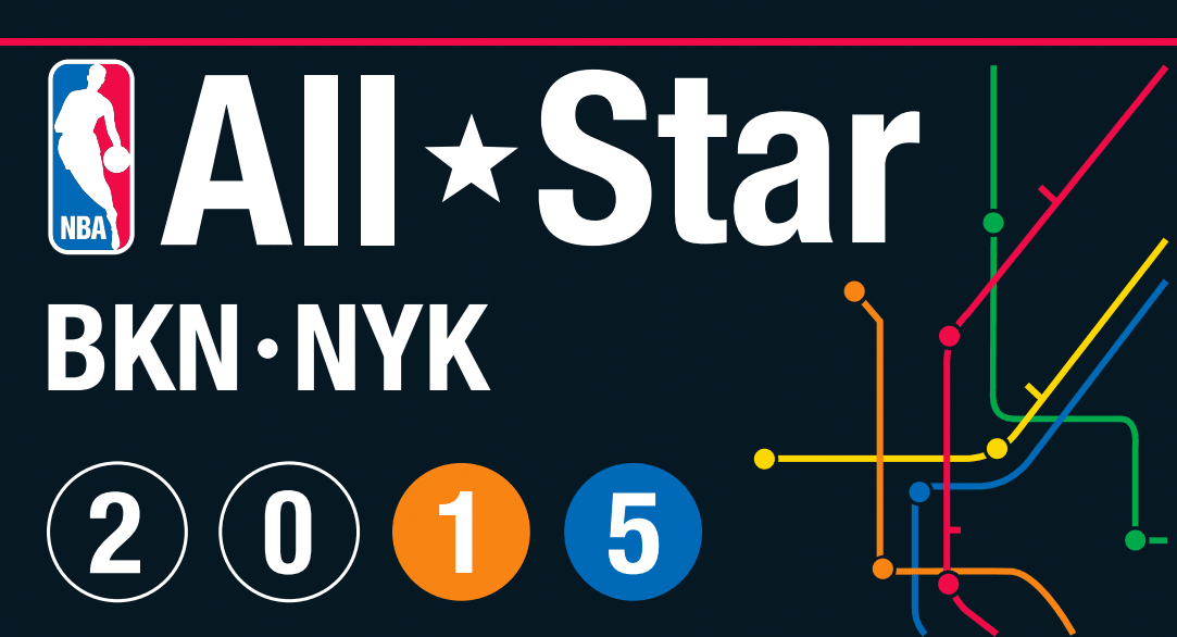 NBA All-Star Game Logo Primary Logo (2014/15) - 2015 NBA All-Star Game Logo - hosted by both the Brooklyn Nets and New York Knicks in February 2015. Logo design based off of New York City subway signs, also shows the connectivity between the five boroughs SportsLogos.Net