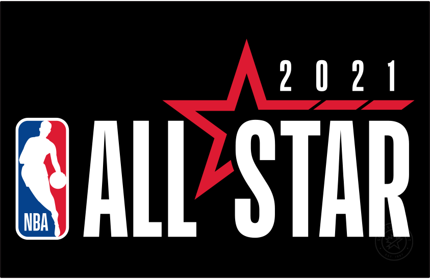 NBA All-Star Game Logo Primary Dark Logo (2020/21) - Originally scheduled to be played in Indianapolis, the COVID-19 pandemic forced the NBA to scrap its plans for a traditional All-Star Game in 2021. A couple of months into the 2020-21 season the league changed its mind and chose to stage an All-Star Game in Atlanta in March 2021. The logo shown here continues the league-wide template with the logo to the left and event name to the right, a red star is included with 2021 above. Logo shown here on a black background SportsLogos.Net