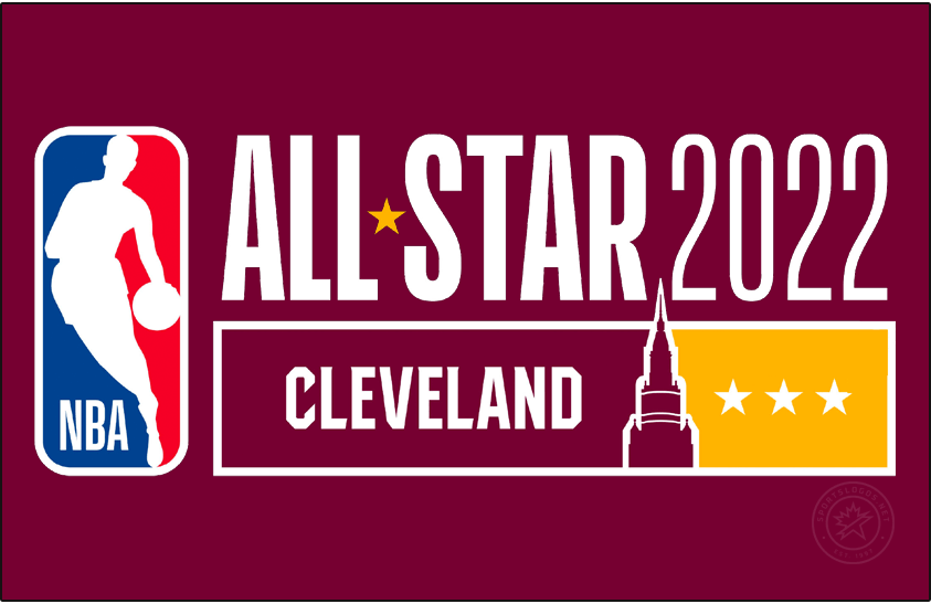 NBA All-Star Game Logo Primary Dark Logo (2021/22) - The 2022 NBA All-Star Game logo continues the logo template in use since 2018. The logo is in wine and gold in tribute to the host Cleveland Cavaliers, along the bottom of the logo is the Terminal Tower located in downtown Cleveland, three gold stars off to the right represent the three times the city has hosted the NBA All-Star Game. Logo shown here on a wine background with white lettering. SportsLogos.Net