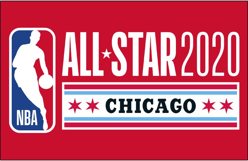 NBA All-Star Game Logo Primary Dark Logo (2019/20) - 2020 NBA All-Star Game Logo in Chicago on red SportsLogos.Net