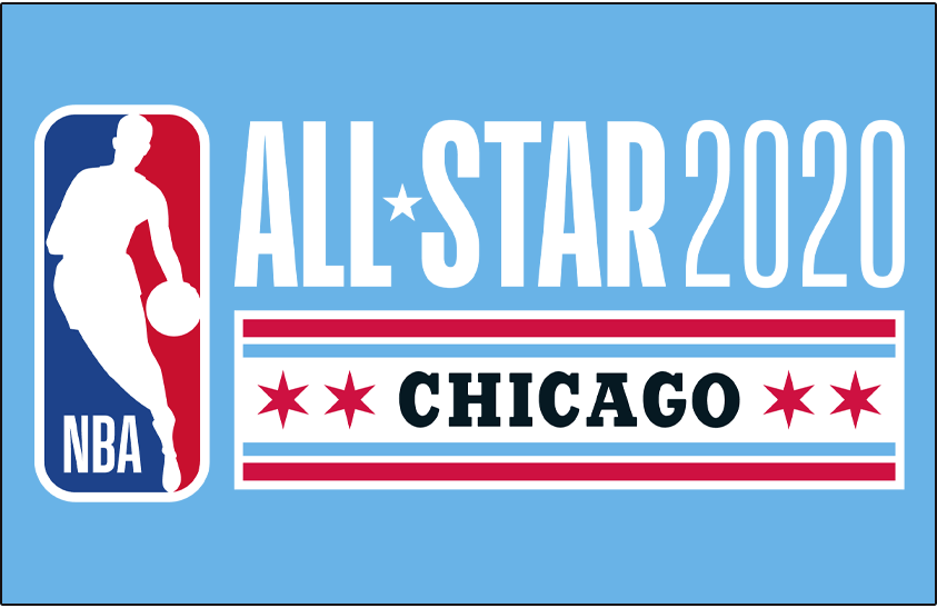 NBA All-Star Game Logo Primary Dark Logo (2019/20) - 2020 NBA All-Star Game Logo in Chicago on light blue SportsLogos.Net