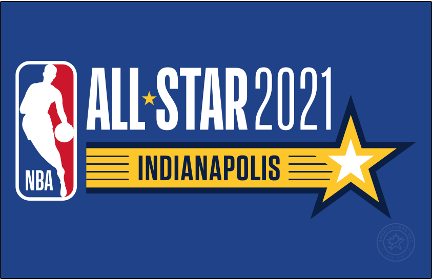 NBA All-Star Game Logo Unused Logo (2020/21) - Originally scheduled to be played in Indianapolis, the COVID-19 pandemic forced the NBA to scrap its plans for a traditional All-Star Game in 2021. Though a game was eventually played in 2021 in Atlanta here is the original primary logo for that Indianapolis game, it shows the usual NBA logo template of the era with a streaking blue and yellow star below representing the Pacers team colours. SportsLogos.Net