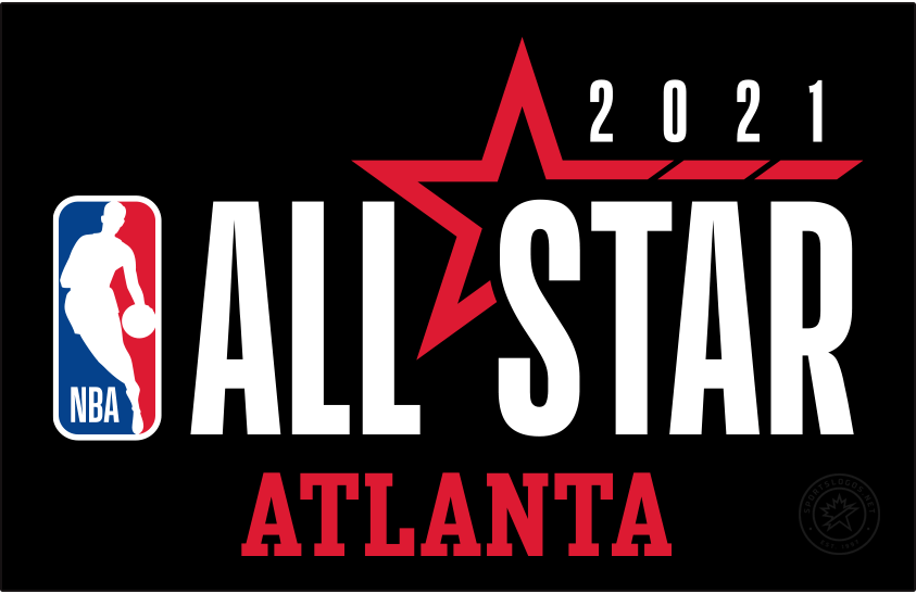 NBA All-Star Game Logo Alternate Logo (2020/21) - Originally scheduled to be played in Indianapolis, the COVID-19 pandemic forced the NBA to scrap its plans for a traditional All-Star Game in 2021. A couple of months into the 2020-21 season the league changed its mind and chose to stage an All-Star Game in Atlanta in March 2021. The logo shown here continues the league-wide template with the logo to the left and event name to the right, a red star is included with 2021 above. Logo shown here is the official primary alternate version which includes the host city of ATLANTA below the logo SportsLogos.Net