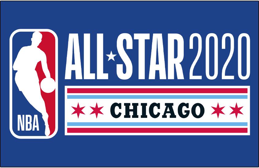 NBA All-Star Game Logo Primary Dark Logo (2019/20) - 2020 NBA All-Star Game Logo in Chicago on blue SportsLogos.Net