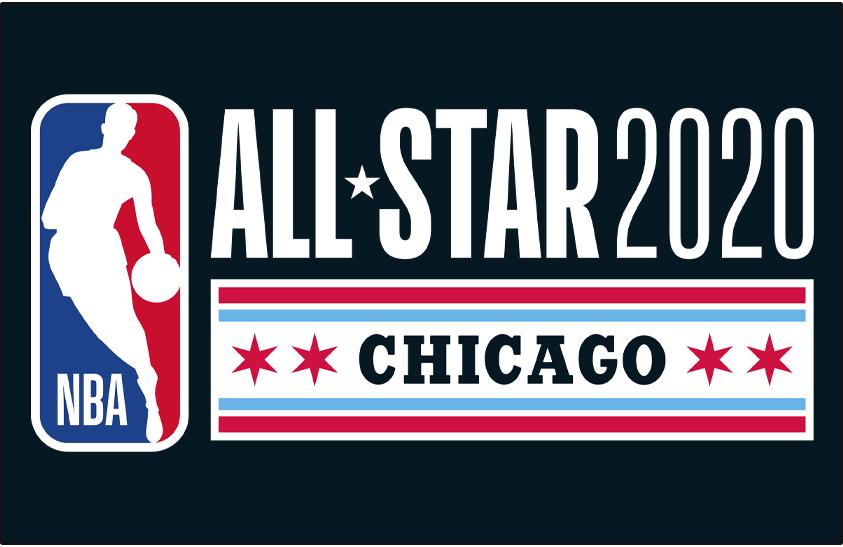 NBA All-Star Game Logo Primary Dark Logo (2019/20) - 2020 NBA All-Star Game Logo in Chicago on black SportsLogos.Net