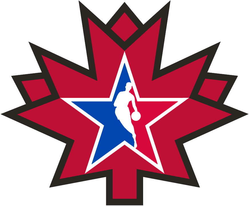 NBA All-Star Game Logo Alternate Logo (2015/16) - 2016 NBA All-Star Game Logo - Game played in Toronto, ON, NBA Logoman in a red stylized maple leaf SportsLogos.Net
