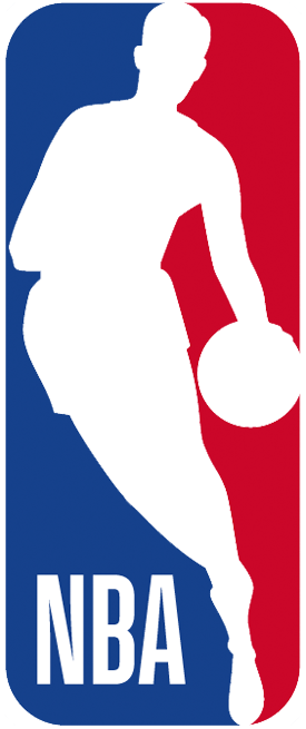 National Basketball Association Logo Primary Logo (2017/18-Pres) - Silhouette of a basketball player dribbling in between blue and red, league abbreviation in bottom left corner. Tweaks to the font and colours were made to this logo for the 2017-18 season. SportsLogos.Net