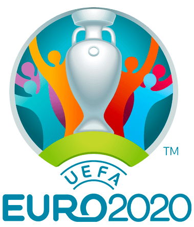UEFA European Championship Logo Primary Logo (2021) - The 2020 UEFA Euro logo shows six human figures in various colours celebrating behind a silver depiction of the tournament trophy. This is enclosed within a blue circle and the title of the event EURO2020 below in blue. SportsLogos.Net