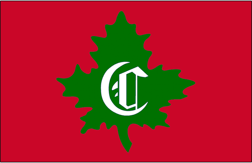 Montreal Canadiens Logo Jersey Logo (1910/11) - Green leaf logo with calligraphic C on red, worn on Montreal Canadiens jersey in 1910-11 SportsLogos.Net