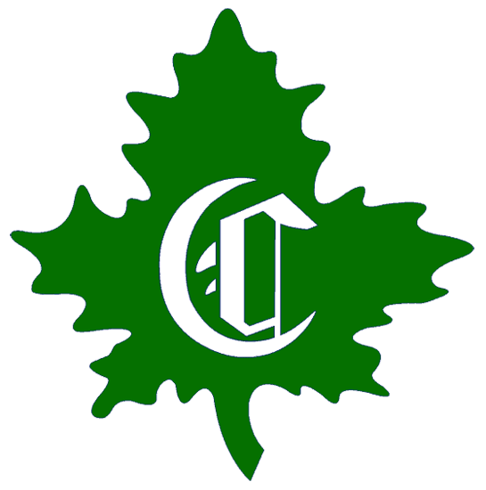 Montreal Canadiens Logo Primary Logo (1910/11) - A white calligraphic style C on a green maple leaf SportsLogos.Net