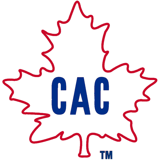 Montreal Canadiens Logo Primary Logo (1912/13) - CAC written in blue inside a white maple leaf with a red outline.