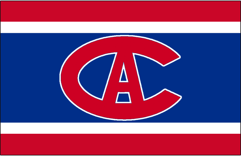 Montreal Canadiens Logo Jersey Logo (1915/16) - Red C and A with a white outline on blue, white and red stripes. Worn on Montreal Canadiens jersey in 1915-16 SportsLogos.Net