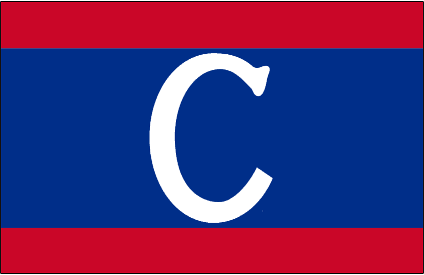 Montreal Canadiens Logo Jersey Logo (1912/13) - A white C on a blue horizontal stripe on a red jersey. The first clash or