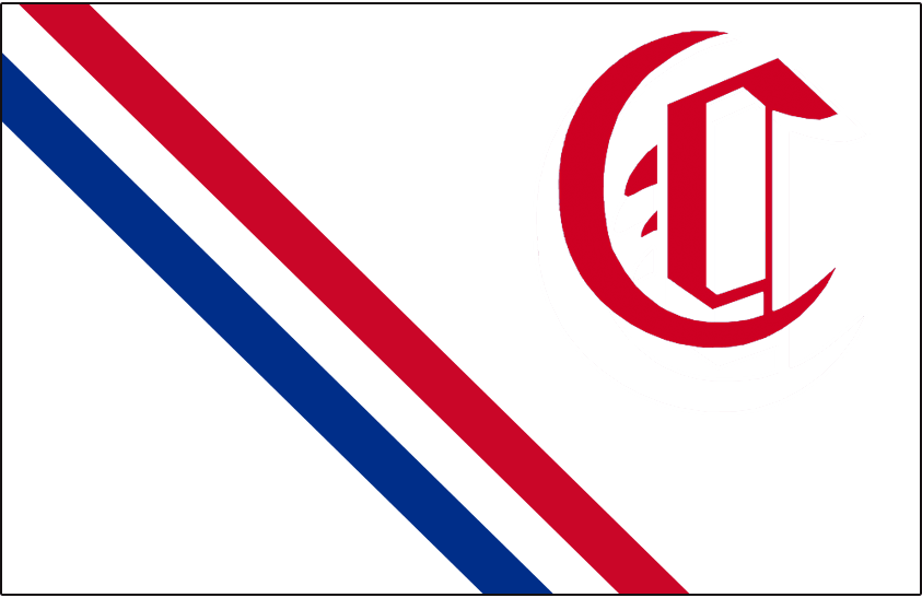 Montreal Canadiens Logo Jersey Logo (1911/12) - Calligraphic style C in red in the upper corner with a red and blue diagonal sash running through a white jersey - worn during the Montreal Canadiens 1911-12 season only SportsLogos.Net