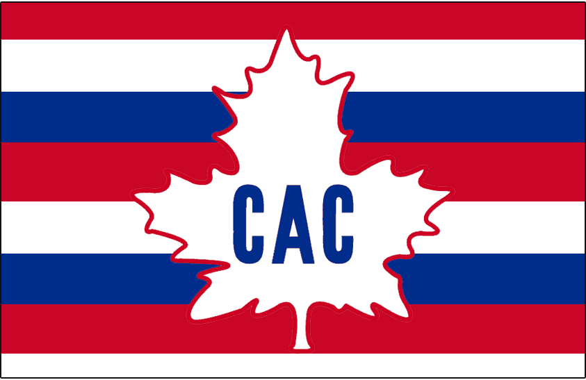 Montreal Canadiens Logo Jersey Logo (1912/13) - CAC maple leaf logo on a red, white, and blue barberpole striped jersey. Worn during the 1912-13 season only SportsLogos.Net