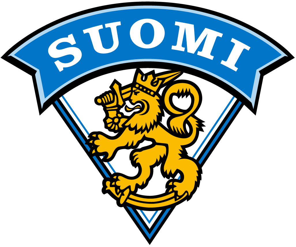 Finland National Hockey Team Logo Alternate Logo (1996-Pres) - A gold lion with a blue banner above in Finnish SportsLogos.Net