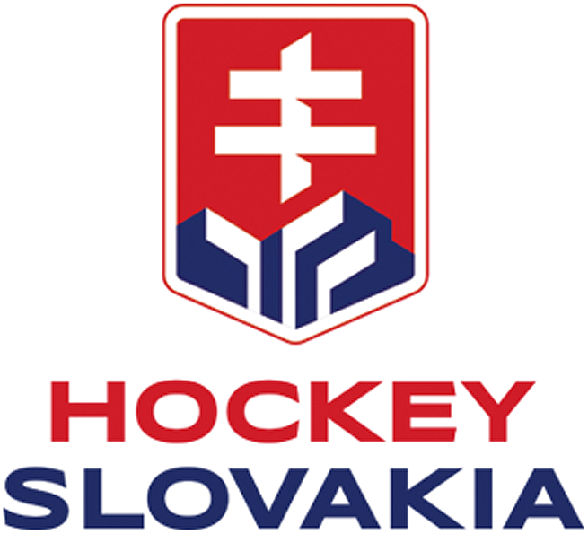 Slovakia National Hockey Team Logo Primary Logo (2019-Pres) - Slovakia National Hockey Team Logo - national shield, red with white cross, hockey sticks in the blue moutains SportsLogos.Net