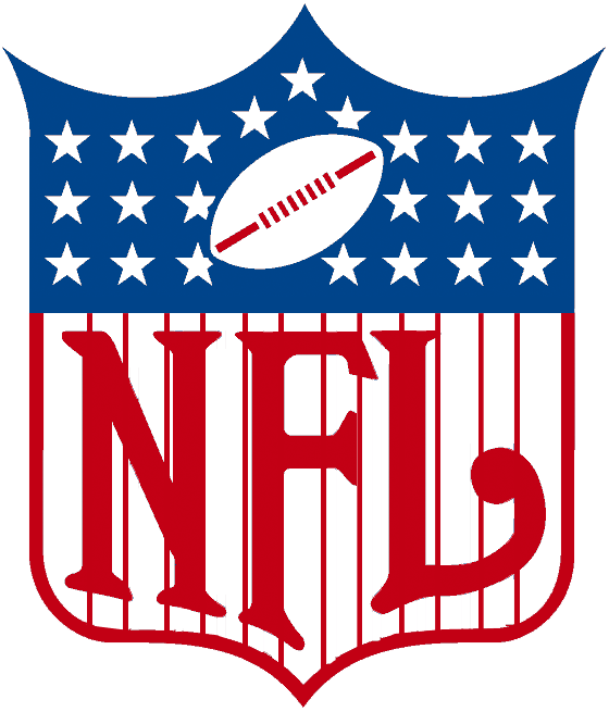 National Football League Logo Primary Logo (1959-1968) - A shield with NFL in red with stripes and white stars on blue with a footba SportsLogos.Net