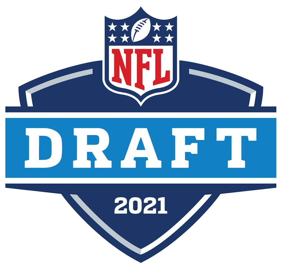 NFL Draft Logo Primary Logo (2021) - The 2021 NFL Draft logo carries on the template that has been used, with slight tweaks, since the 2004 season. The logo shows a royal blue shield with the NFL logo above, a light blue banner passes in front of this shield with DRAFT in block jersey style font, the year 2021 at the bottom in white. SportsLogos.Net