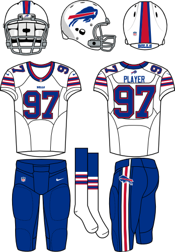 Buffalo Bills Uniform Primary White Uniform (2013-2020) - White helmet (primary logo on the side) with white jersey (accented in royal blue) and royal blue pants. Manufactured by Nike. Collar style changed from 2012 to 2013.  In 2021 the Bills changed the colour of their facemask from grey to white. SportsLogos.Net