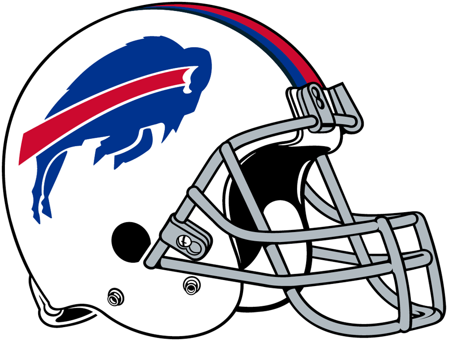 Buffalo Bills Helmet Helmet (2011-2020) - The Buffalo Bills returned to a white helmet after two decades in red, retaining the blue leaping buffalo logo on the side with red, blue and navy stripes up the middle of the shell and a grey facemask. In 2021 the Bills kept this design but changed the facemask to white. SportsLogos.Net