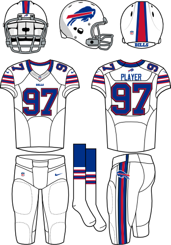 Buffalo Bills Uniform Primary White Uniform (2012) - White helmet (primary logo on the side) with white jersey (accented in royal blue) and white pants. Manufactured by Nike. SportsLogos.Net