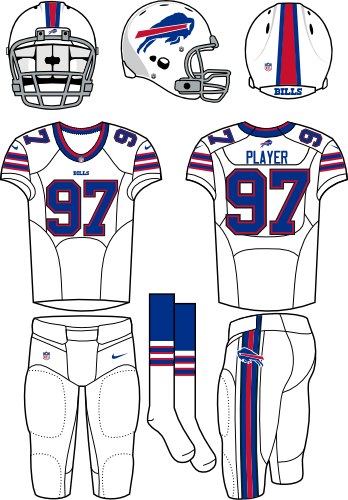 Buffalo Bills Uniform Primary White Uniform (2013-2020) - White helmet (primary logo on the side) with white jersey (accented in royal blue) and white pants. Manufactured by Nike. Collar style changed from 2012 to 2013.  In 2021 the Bills changed the colour of their facemask from grey to white. SportsLogos.Net