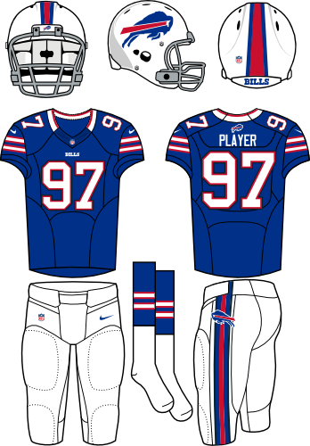 Buffalo Bills Uniform Primary Dark Uniform (2012) - White helmet (primary logo on side) with royal blue jersey and white pants. Manufactured by Nike. SportsLogos.Net