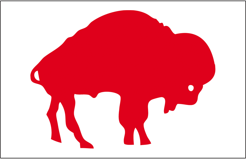 Buffalo Bills Logo Helmet Logo (1962-1973) - Standing Bison logo in red on white, worn as their helmet logo from 1962 to 1973 SportsLogos.Net