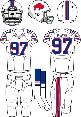 Buffalo Bills Uniform Alternate Uniform (2012) - White helmet (primary logo on the side) with white jersey and white pants. Throwback era is 1965-1973. Manufactured by Nike. SportsLogos.Net